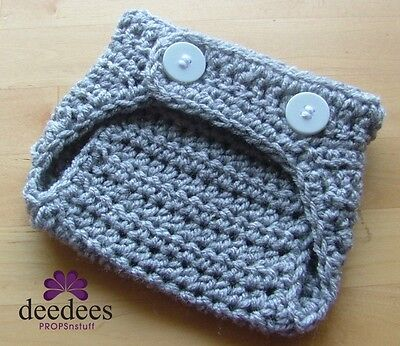 ~ NEW Baby Crochet NAPPY COVER - Photography Prop *Grey* 0-3m *QLD MADE* ~