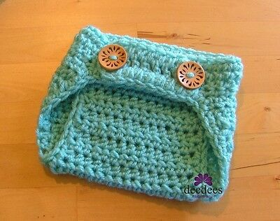 ~ NEW Baby Crochet NAPPY COVER - Photography Prop *Mint Green* 0-3m *QLD MADE* ~