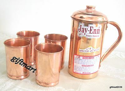 Pure Copper Water Jug with 4 Glasses Pitcher ENERGIZED WATER NATURAL HEALTH.