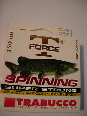 TRABUCCO T FORCE SPINNING PIKE MONOFILAMENT FISHING LINE ALL SIZES 150m