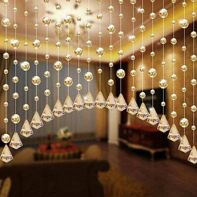 1 Meters Glass Crystal Clear Beads Window Drapes Partitio Hanging Curtain