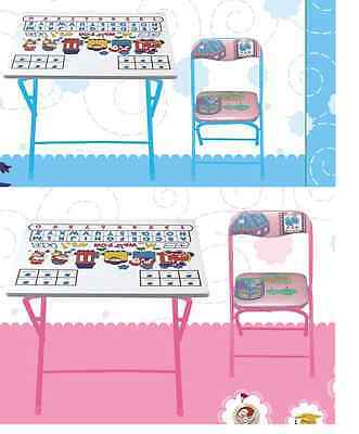 KIDS GIRLS WOODEN & METAL FOLDING HOME STUDY TABLE & CHAIR SET BLUE or PINK
