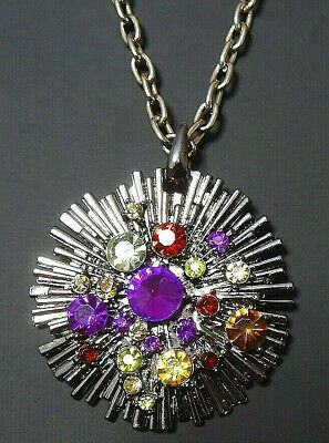 Vintage Necklace Solar Stars Multi-Colour Rhinestones Bronze Col Base VGC 106