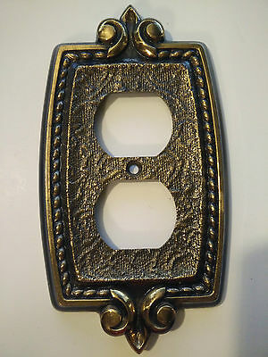 Vintage Edmar Style Light Outlet Cover Decorative Ornate Brass Metal Bronze