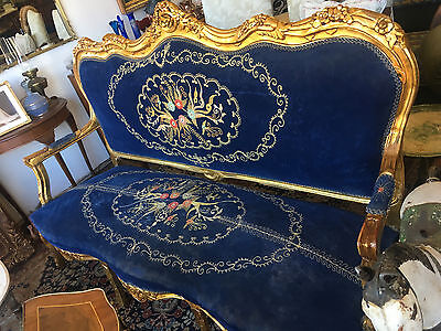 Victorian French Louis Xv Style Carved Ornate Gilt 3 Seater Sofa In Dark Blue