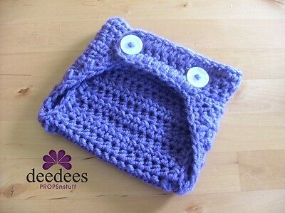 ~ NEW Baby Crochet NAPPY COVER - Photo Prop *PURPLE* 0-3m *QLD MADE* ~