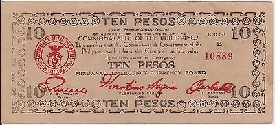 (YAC-58) 1943 Commonwealth Philippines 10 peso emergency bank note (A)