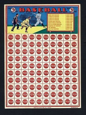 PUSH 5 cent HARLICH c 1930 BASEBALL GAME Gambling Board CHICAGO CANDY BAR unused