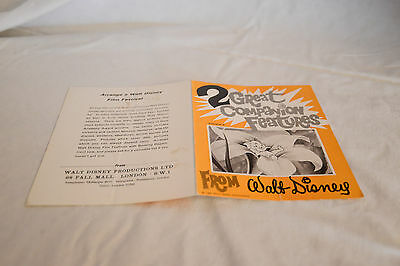 Rare Vintage Cinema Press Release 2 Great Companion Features From WALT DISNEY