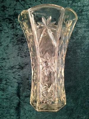 "Vintage Cut Glass Vase, Six Sided, Scalloped Around Top; Heavy and Solid 8"" Tall"