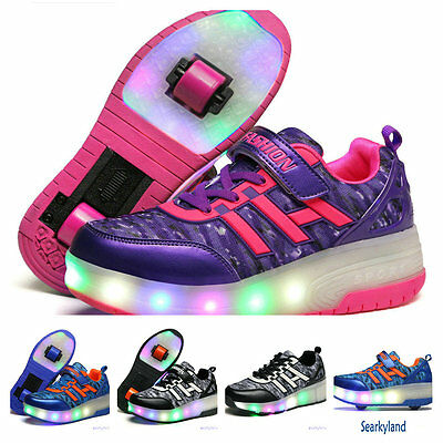 Kids Sports Roller Skating Wheels LED Shoes Boys Girls Unisex Adults Sneakers