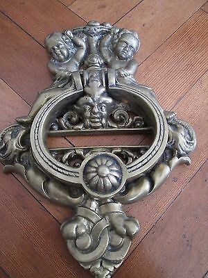 Wonderful Large Old Brass Cherub Door Knocker