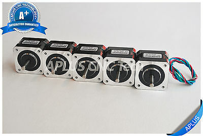 5 PCS NEMA 17 Stepper Motor, 40oz-in 34mm 1.3A, 1.8degree, 4wires