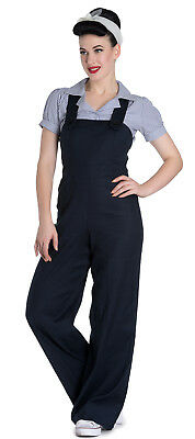 New Hell Bunny Navy Blue 1940S Flared Retro Vintage Overall Jumpsuit Dungarees