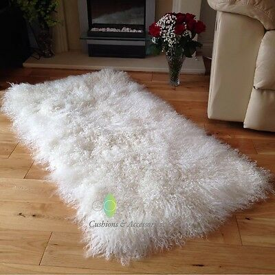 60x120CM GENUINE MONGOLIAN SHEEPSKIN LONG LAMB FUR PLATE RUG HIDE NATURAL WHITE