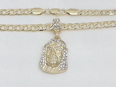 "Real 14k Yellow Gold Filled Jesus Head Pendant 24"" Cuban Link Chain Necklace 6mm"