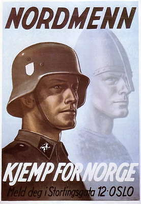 German WW2 Nordmenn Norge Waffen SS Officer large Poster