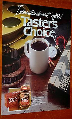 French 1987 Taster's Choice Coffee Canadain Ad Retro Film Reel & Marker 80S