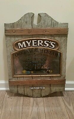 "Vintage MYERS'S Imported Rum Cream Bar Sign 24""x18"" Advertising Rustic Nautical"