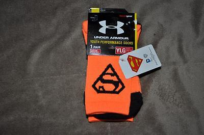 Under Armour Alter Ego SUPERMAN Crew Socks Youth Large Orange/Black NWT
