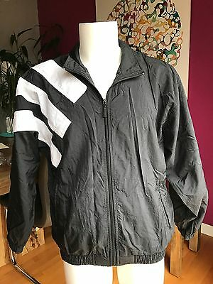 Vtg Adidas Windbreaker Jacket Size Small 90s Track Hiphop Black White Striped