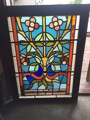 Sg 879 Antique Floral Stainglass Window With Rondell's