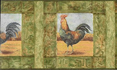Framed Roosters on Cream  with Green  Edge Wallpaper Border CP033202B