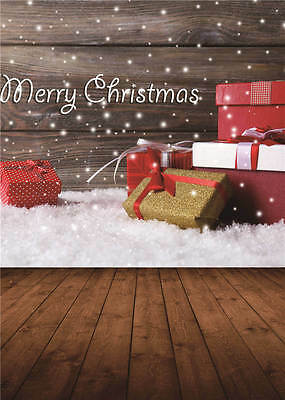 Merry Christmas Background Photo Wooden Floor Photography Backdrops Vinyl 5x7FT