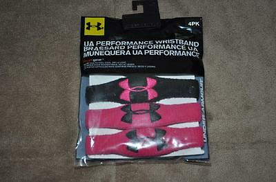 Under Armour 1/2 Inch Oversized Wristband Armband 1218016 645 2 Black/2 Pink NWT