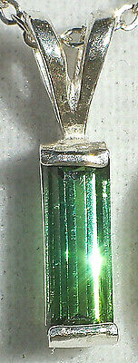 Natural Green 8mm Tourmaline .925 Sterling Silver Pendant Necklace