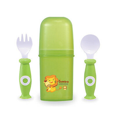 Baby Toddler Green BPA Free Training Fork & Spoon + Storage Container Case Set