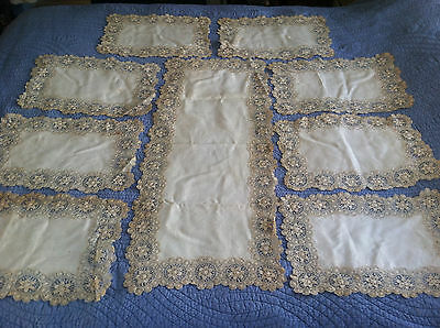 Stunning~Antique Table Runner w Placemats Linen Needle Lace~Set of 9 ~Ecru