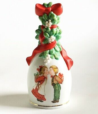 Lovely Bell Christmas 1989 Couple Kissing Under The Mistletoe Porcelain