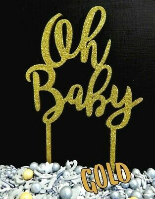 WOOD GOLD Oh Baby CAKE TOPPER CAKE DECORATION LASER CUT TIMBER BABY SHOWER