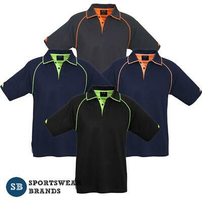 Mens Fusion Cotton Backed Polo Shirt Quick Dry Gym Sports Tradie New Top P29012
