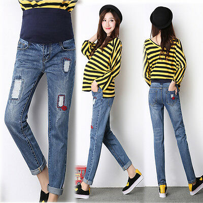 Overbumped Jeans Pants Trousers Maternity Pregnancy Skinny Slim 8 10 12 14 16