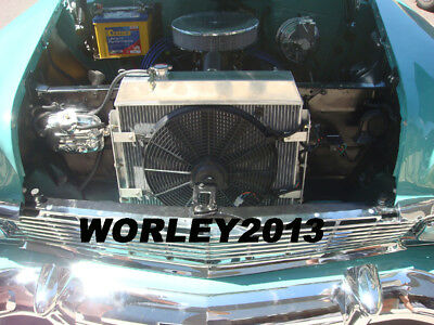 3 core aluminum radiator & fan for Chevy Bel-Air  W/COOLER V8 1955 1956 1957