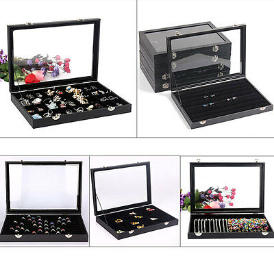 Large Glass Top Jewelry Ring Earring Display Organizer Box Holder Storage Case