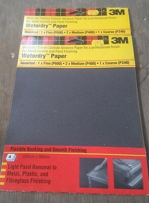 3M Wet & Or Dry Sand Paper  4 Pack Mixed X 100 Packs (400 Sheets)