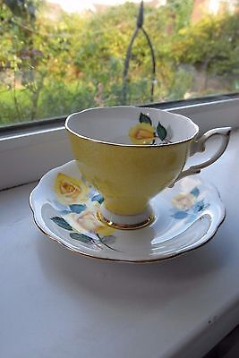 Royal Standard Rose Tea Cup & Saucer Yellow Roses Bone China 2nd Quality
