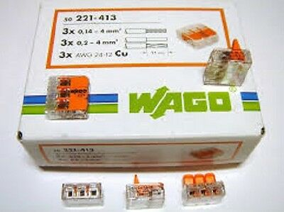 WAGO Spring Lever Push Fit Reuseable Cable Clamp 2,3,5wire connectors 221 series