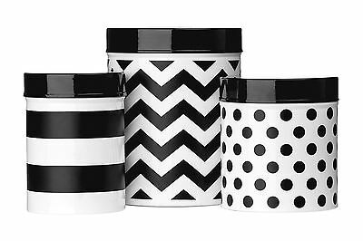 Set of 3 Black White Domino Kitchen Food Storage Canisters Jars Tins Metal