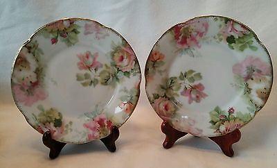 "2 J & C Louise Bavaria Plates Pink Roses 6"" Antique Jaeger Co Vintage"