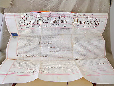Antique Legal Document Indenture 1864 Handwritten  English Velum Calligraphy