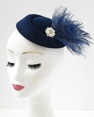 Navy Blue White Feather Pillbox Hat Fascinator Races Vintage Hair 1940s 30s 733