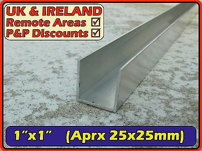 "Aluminium Channel (C U section, gutter, profile) | 1"" (>25mm >1.5mm)"