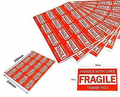 64x Fragile Stickers Handle With Care Thank You Adhesive Label 320mmx230mm Sheet