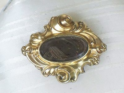 Antique MOURNING Braided HAIR Jewelry BROOCH Victorian MEMORIAL PIN Vintage