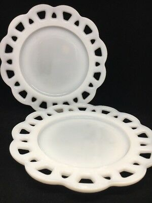 """Vintage Anchor Hocking? Open Lace Edge Old Colony 8 1/4"""" Milk Glass Salad Plates"""
