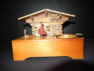 Vintage REUGE Dancing Ballerina Music Box Wood Chalet Ashtray - WORKS GREAT